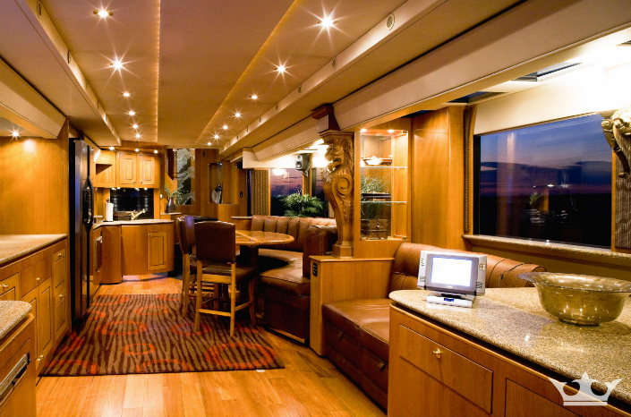 Ashton Kutcher's 2-Story RV. Photos Courtesy of www.andersonmobileestates.com.